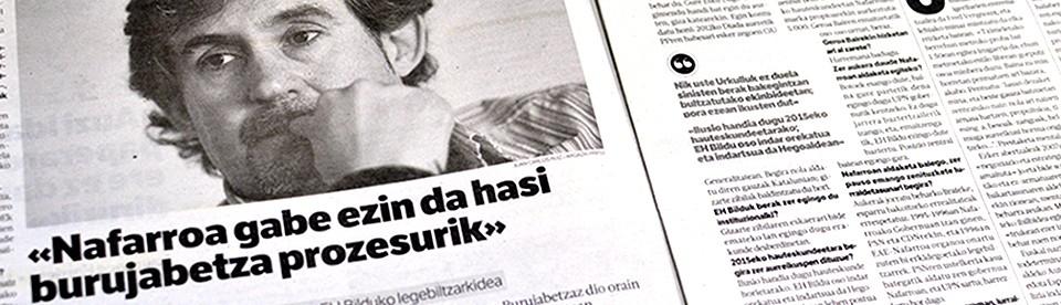 Pello Urizarri elkarrizketa 'Berria' egunkarian